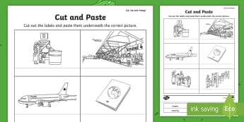 Up, Up and Away! Cut and Paste Activity - aistear, exploring my world, story, literacy, oral languages, airport, travel, aeroplane, transport,
