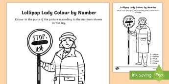 Lollipop Lady Colour By Number Dots - colour, number dots, number, dots, lollipop lady