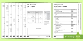 AQA Physics Unit 4.1 Energy Test - KS4 Assessment, Test, Energy, Systems, Thermal Energy, Resources, Power, Energy Transfer, Efficiency