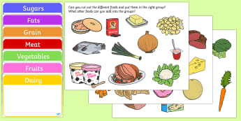 Food Group Sorting Activity - food, food groups, matching cards, sorting cards, cards, flashcards, grouping, dairy, vegetable, fruit, protein, grains