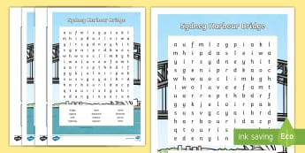 Sydney Harbour Bridge Upper Primary Word Search - Australian landmark, famous places, australian history, vocabulary, word list, literacy,Australia