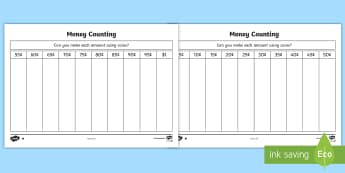 Money Counting and Sorting Activity Sheet - Canada KS1 Maths Resource Movement, canada, canadian, canadian money, canadian coins, coins, money,