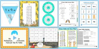 9 Times Table - 9x, nine times, table, multiplication