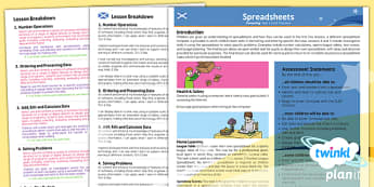 Computing: Excel Spreadsheets Year 6 Planning Overview CfE