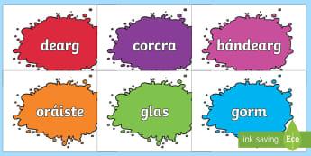 Colour Names on Splats Gaeilge - gaeilge, colour names, colour, names, splats