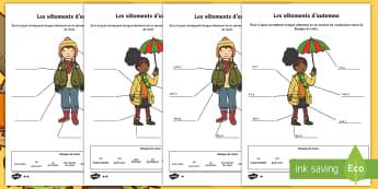 Feuilles d'activités différenciées : Nomme les vêtements - Saison, différents niveaux, écharpe, pull, bottes, parapluie,French