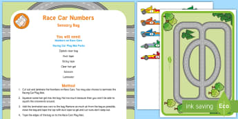 Race Car Sensory Bag - maths, number recognition, numbers, racing car, grand prix