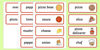 Pizza Shop Role Play Word Cards - pizza, pizza shop, word card, cards, flashcards, pizza deliverer, slice, base, sauce, cheese, making pizza, italian, Italy