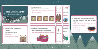 Ten Little Lights Year 1 Reasoning Differentiated Challenge Cards - Twinkl Originals, Fiction, KS1, Problem Solving, Maths, christmas, snow, winter, cold, animals