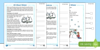 Winter Differentiated Reading Comprehension Activity English/Spanish  - questions, answers, KS1 reading pack, EAL,Spanish-translation