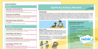 PlanIt Significant Author: Macbeth Planning Overview - English planning, shakespeare, macbeth, planning, witches, historical text