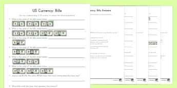 US Bills Differentiated Activity Sheets - currency, money, bills, dollar