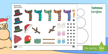 Design Your Own Snowman Christmas Cards English/Afrikaans - December, celebrate, make, create, creative, Desember, maak, EAL