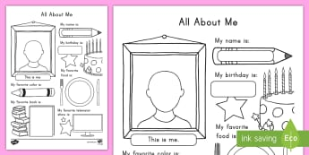 All About Me Activity Sheet - USA Back to School, USA Beginning of School, Back to School, Beginning of School activity, All about