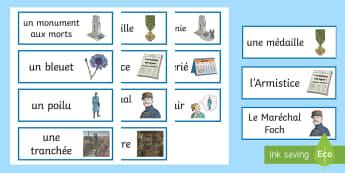 Cartes de vocabulaire : Le 11 novembre - Armistice, 14-18, Première, Guerre, Histoire, souvenir, cycle 2, cycle 3,French