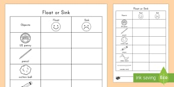 Float or Sink Activity Sheet -  physical science, activity mat, experiment, predictions, recording, worksheet
