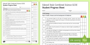 Edexcel Style Health, Disease and the Development of Medicines Student Progress Sheet - health, disease, infection, pathogen, bacteria, virus, fungi, protist, malaria, vector, host, lifest