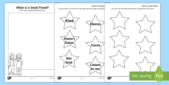 What is a Good Friend? Activity Sheet - young people, peer pressure, relationships, emotions, behaviour, Freindship, worksheet