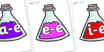 Modifying E Letters on Potions - Modifying E, letters, modify, Phase 5, Phase five, alternative spellings for phonemes, DfES letters and Sounds