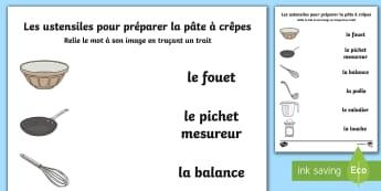 Les ustensiles pour préparer la pâte à crêpes Feuille d'activités avec des mots et des images à relier - Chandeleur, crêpes