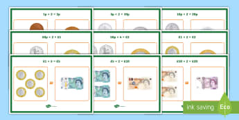 Money Equivalent Values Display Posters - Money, pounds, sterling, coins, notes, pay, change, posters, display, equivalent, money, money value