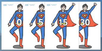 Numbers 0-31 on Superhero - 0-31, foundation stage numeracy, Number recognition, Number flashcards, counting, number frieze, Display numbers, number posters