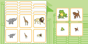 Matching Size Activity - dear zoo, matching, matching activity, matching game, matching size, size activity, size, matching puzzle