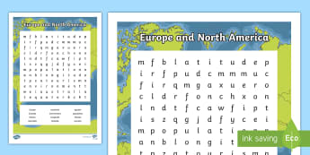 Europe and North America Word Search - ACHASSK111, Year 5, AC, Geography, vocabulary, word recognition, metalanguage, spelling,Australia