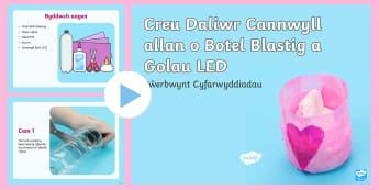 Pŵerbwynt Cyfarwyddiadau Creu Daliwr Cannwyll allan o Botel Blastig a Golau LED - Santes Dwynwen, Dwynwen, Ionawr 25, Sain Ffolant, Ffolant, Crefft, Celf,Welsh-translation