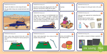 EYFS Bloodhound SSC Challenge Cards - construction, investigation, technology, fastest car, land speed record, construction, science, mate