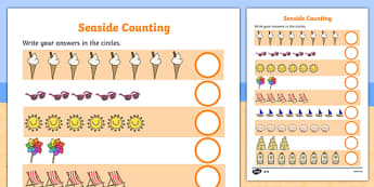 Seaside Counting Worksheet / Activity Sheet - Counting worksheet, Seaside, counting, activity, how many, foundation numeracy, counting on, counting back, holidays, water, tide, waves, sand, beach, sea, sun, holiday, coast