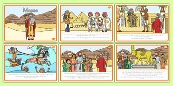 Moses Story Sequencing A4 - usa, america, Moses, Egypt, Hebrews, slaves, Pharaoh, basket, God, sequencing, story sequencing, story resources, A4, cards, palace, shepherd, burning bush, plague, Promised Land, law, stone, ten commandments, bible, bible