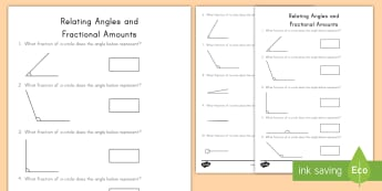 Relating Angles and Fractional Amounts Activity Sheet - angles, fractions, turns, degrees, measurement, geometry