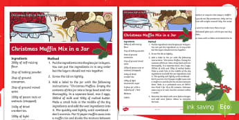Christmas Muffins in a Jar Craft Instructions - xmas, recipe, festive, gifts, presents, craft, parents, family