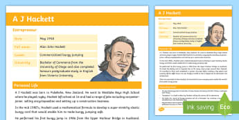 A J Hackett Fact File - New Zealand Famous People, kiwis, celebrities, role models, famous people, New Zealand, adventures,