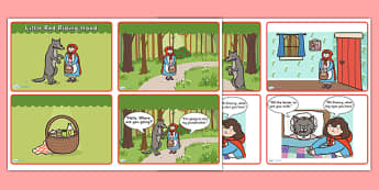 Little Red Riding Hood Story Sequencing (4 per A4 with Speech Bubbles) - Little Red Riding Hood, traditional tales, tale, fairy tale, Wolf, Grandma, woodcutter, bed, cottage, forest, what big teeth you have