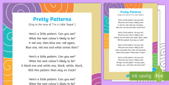 Pretty Patterns Song - EYFS, patterns, pattern, repeat, repeating, sequence, colour