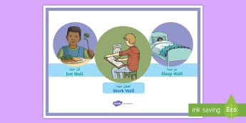 Eat Well, Sleep Well, Work Well A4 Display Poster Arabic - Arabic/English  - motivation, health, well being, emotions, young people, EAL,Arabic.,Arabic-translation