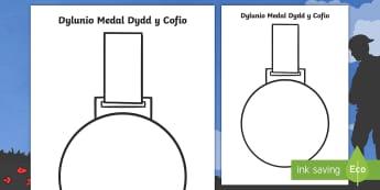 Dylunio Medal Dydd y Cofio Taflen Weithgaredd - medal, dydd y cofio, remembrance Day, medal, design, dylunio,Welsh