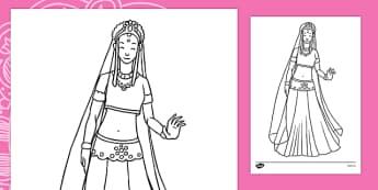 Sita Colouring Page -- ESL Diwali Resources