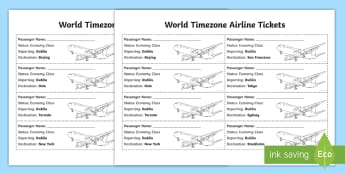 World Timezones Airline Ticket Activity Pack- - timezones, international time, tickets, games, measures, time, airline game,Irish