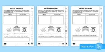 Year 2 Maths Kitchen Measuring Homework Go Respond Worksheet / Activity Sheet - year 2, maths, homework, measure, baking, ingredients, scales, Worksheet, reading scales, heavier, l