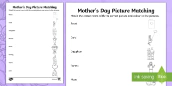 ROI Mother\'s Day Picture Matching Irish Worksheet / Activity Sheet - ROI- Mothers Day/ Lá na Maithreacha, Irish, Word, Picture, Matching,Irish
