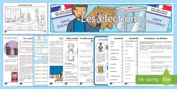Pack de resources : Les élections présidentielles - niveau 1 - les élections, elections, le bureau de vote, polling station, les élections présidentielle, le Pr