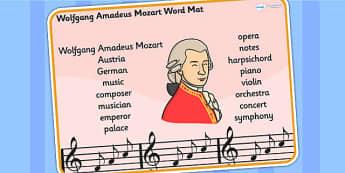 Wolfgang Amadeus Mozart Word Mat - mozart, word mat, keywords