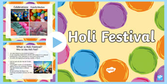 Holi Festival Information PowerPoint English/German - Religion, Hinduism, colours, EAL, German, English-German,,German-translation