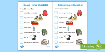 Going Home Checklist Primary - getting home, checklist, primary