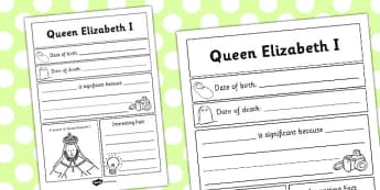 Elizabeth I Significant Individual Writing Frame - writing frame