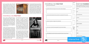 Extraordinary Lives: Anne Frank Differentiated Comprehension Go Respond Worksheet / Activity Sheets  - Comprehensions KS3/4 English, vocabulary, Anne Frank, World War II, Second World War, reading, digit