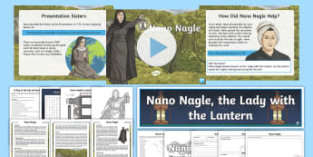 Nano Nagle Activity Pack - lantern, lamp, lady of the, irish, catholic, church, christmas, powerpoint, reading comprehension,,I